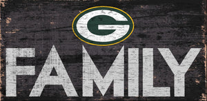 "Green Bay Packers Family Wood Sign - 12"" x 6"""
