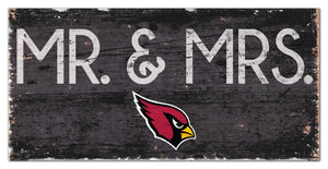 "Arizona Cardinals Mr. & Mrs. Wood Sign - 6""x12"""