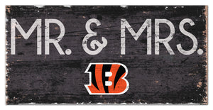 "Cincinnati Bengals Mr. & Mrs. Wood Sign - 6""x12"""