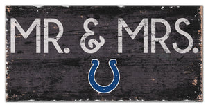 "Indianapolis Colts Mr. & Mrs. Wood Sign - 6""x12"""