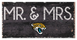 "Jacksonville Jaguars Mr. & Mrs. Wood Sign - 6""x12"""