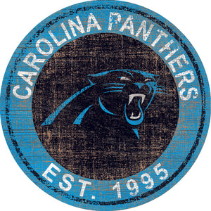 Carolina Panthers Heritage Logo Round Sign - 24""