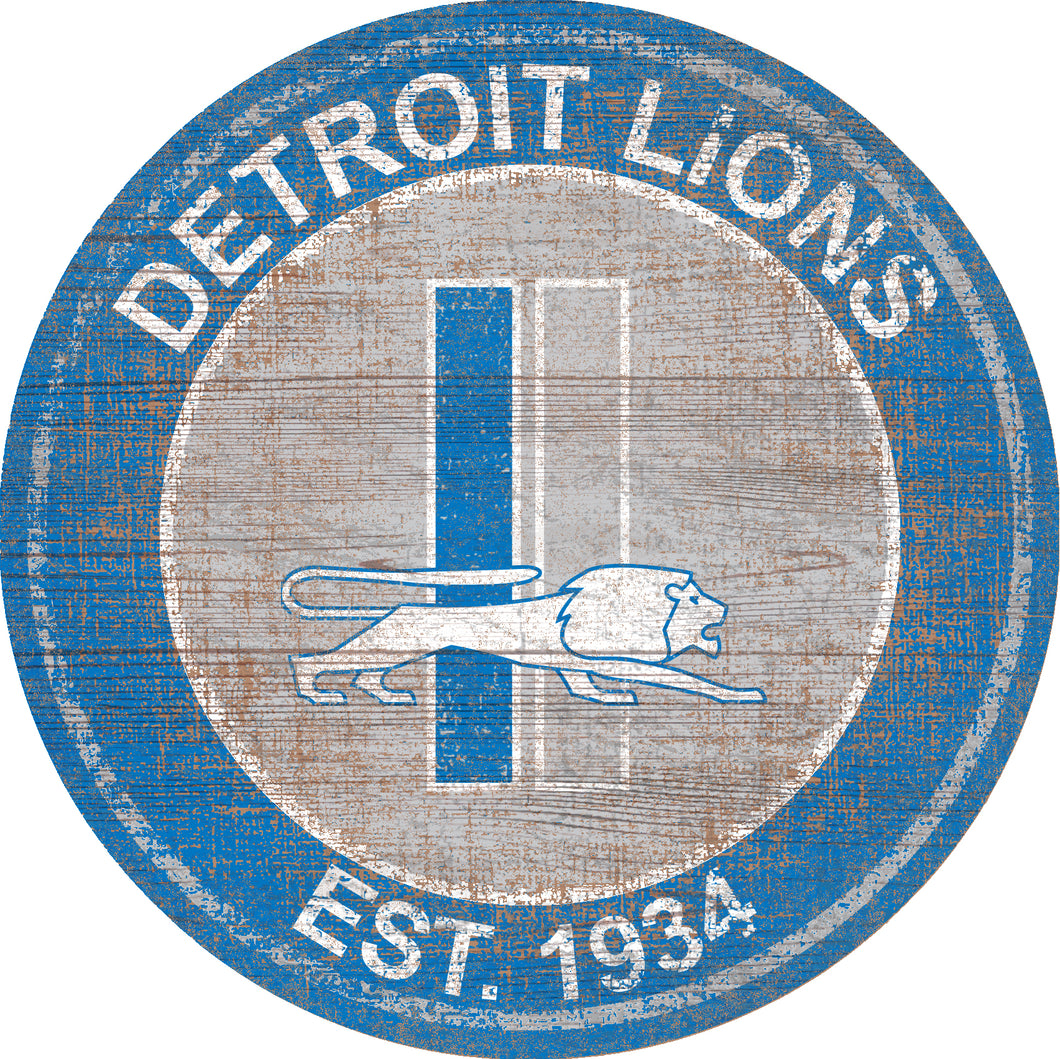 Detroit Lions Heritage Logo Round Sign - 24