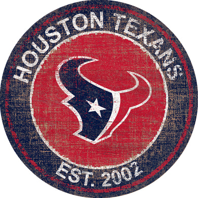 Houston Texans Heritage Logo Round Sign - 24