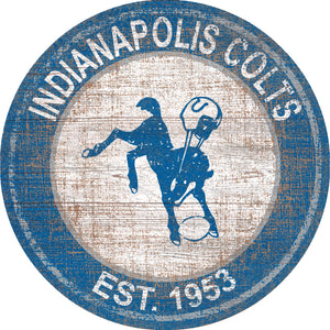Indinapolis Colts Heritage Logo Round Sign - 24""