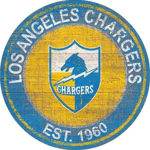 Los Angeles Chargers Heritage Logo Round Sign - 24""