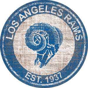 Los Angeles Rams Heritage Logo Round Sign - 24""