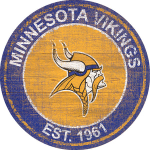 Minnesota Vikings Heritage Logo Round Sign - 24""