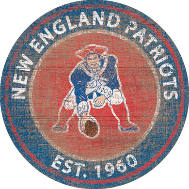 New England Patriots Heritage Logo Round Sign - 24