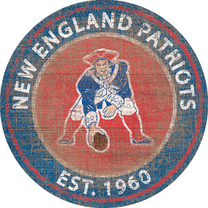 New England Patriots Heritage Logo Round Sign - 24""
