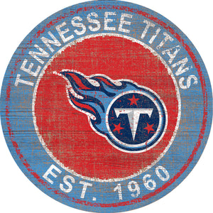Tennessee Titans Heritage Logo Round Sign - 24""