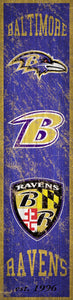 "Baltimore Ravens Heritage Banner Vertical Sign - 6""x24"""