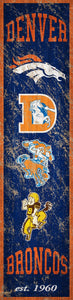 "Denver Broncos Heritage Banner Vertical Sign - 6""x24"""