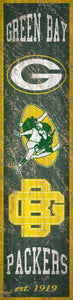 "Green Bay Packers Heritage Banner Vertical Sign - 6""x24"""