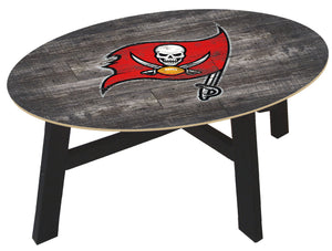 Tampa Bay Buccaneers Distressed Wood Coffee Table