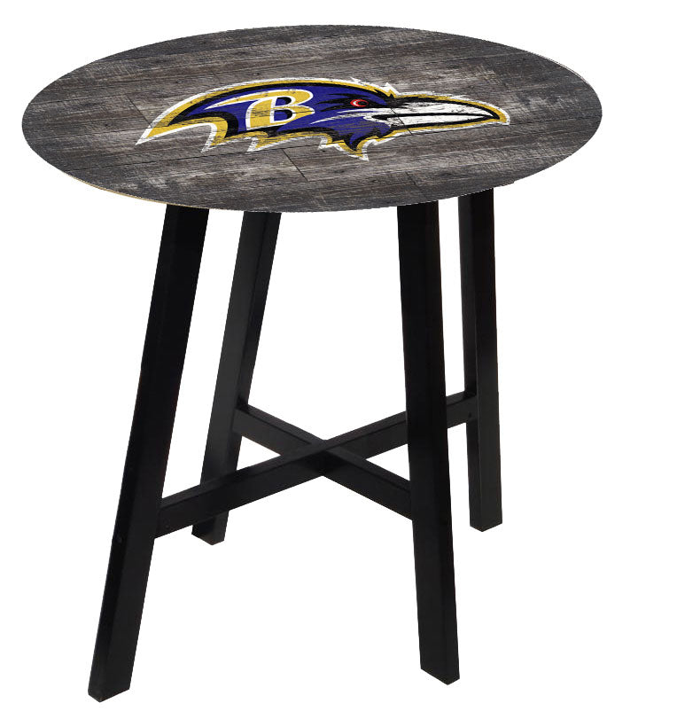 Baltimore Ravens Distressed Logo Pub Table