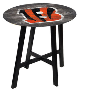 Cincinnati Bengals Distressed Logo Pub Table
