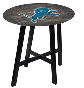 Detroit Lions Distressed Logo Pub Table