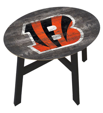 Cincinnati Bengals Distressed Wood Side Table