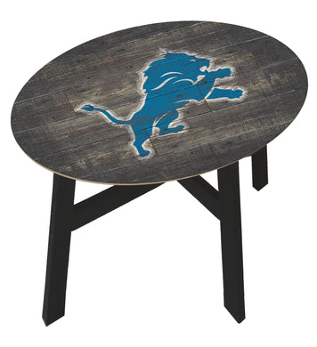 Detroit Lions Distressed Wood Side Table