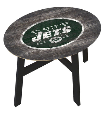 New York Jets Distressed Wood Side Table