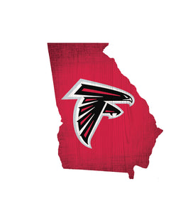 Atlanta Falcons State Wood Sign