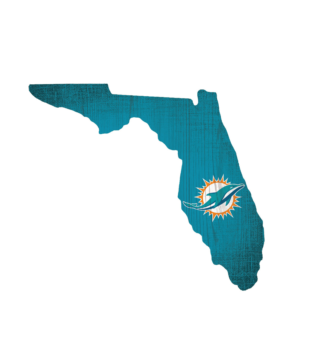 Miami Dolphins State Wood Sign