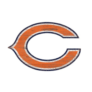 Chicago Bears Distressed Logo Cutout Sign