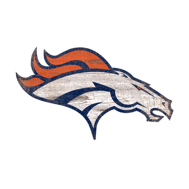 Denver Broncos Distressed Logo Cutout Sign