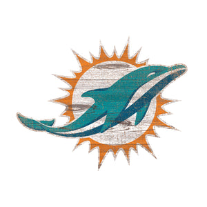 Miami Dolphins Distressed Logo Cutout Sign