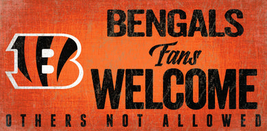 Cincinnati Bengals Fans Welcome Wood Sign