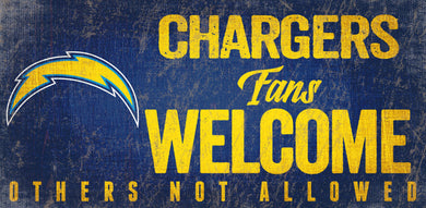 Los Angeles Chargers Fans Welcome Wood Sign
