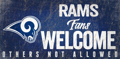 Los Angeles Rams Fans Welcome Wood Sign