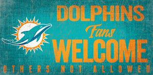 Miami Dolphins Fans Welcome Wood Sign