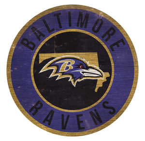 Baltimore Ravens Circle State Sign - 12""