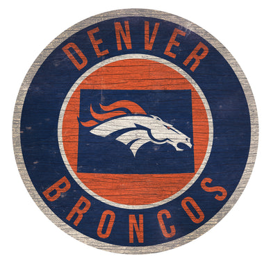 Denver Broncos Circle State Sign - 12