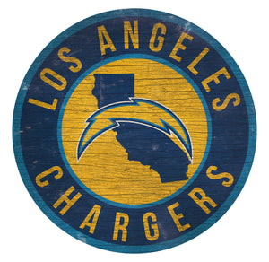 Los Angeles Chargers Circle State Sign - 12""