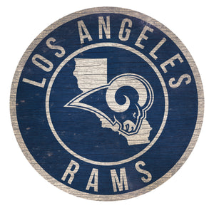 Los Angeles Rams Circle State Sign - 12""