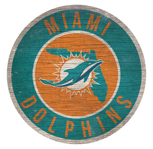 Miami Dolphins  Circle State Sign - 12""
