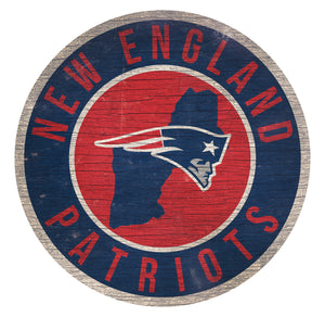 New England Patriots Circle State Sign - 12""