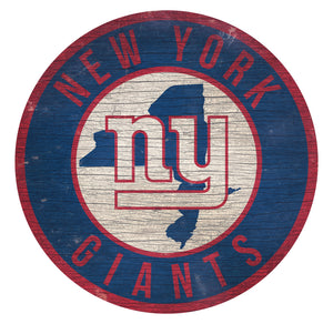 New York Giants Circle State Sign - 12""
