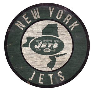New York Jets Circle State Sign - 12""