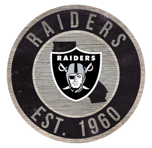 Oakland Raiders Circle State Sign - 12""