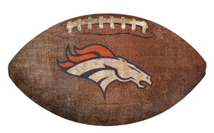 Denver Broncos Football Shaped Sign