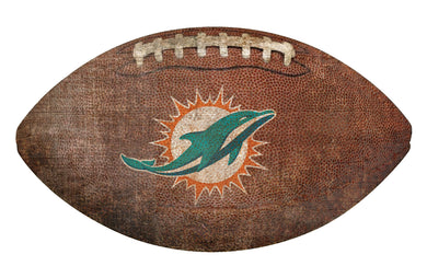 Miami Dolphins Football Shaped Sign