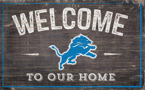 "Detroit Lions Welcome To Our Home Sign - 11""x19"""