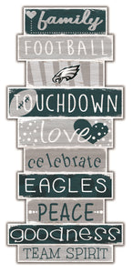 Philadelphia Eagles Celebrations Stack Wood Sign -24""