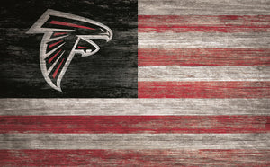 "Atlanta Falcons Distressed Flag Sign - 11""x19"""