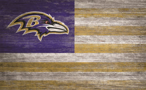 "Baltimore Ravens Distressed Flag Sign - 11""x19"""