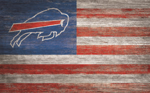 "Buffalo Bills Distressed Flag Sign - 11""x19"""